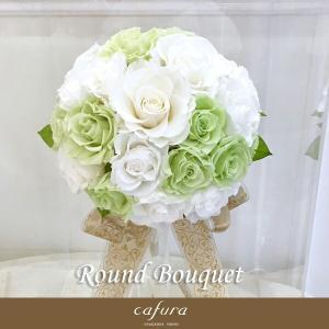 プリザーブドフラワー ウェディングブーケ 結婚式 ブートニア付き ラウンドブーケ|cafura