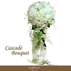 プリザーブドフラワー ウェディングブーケ 結婚式 ブートニア付き ホワイトキャスケードブーケ|cafura