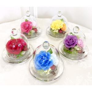 お祝い プリザーブドフラワー ガラスドーム ローズ|cafura