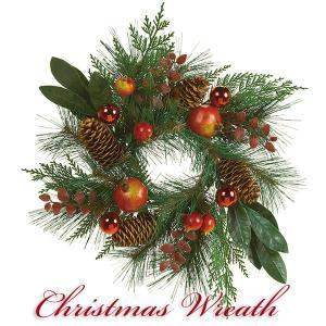 クリスマスリース 北欧風 スノー 45cm 玄関リース ドアチャーム 装飾 デコレーション X'mas 飾り 輪 緑 贈り物 造花 ギフト 年末|cafura