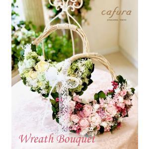 リースブーケ プリザーブドフラワー 結婚式 ウェディングブーケ 壁掛け スワッグ|cafura