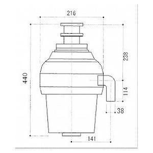 米国アナハイム社製 ディスポーザー シンクマスター 950BF-JF型3/4HP 720W(蓋スイッチ式) caj110 02
