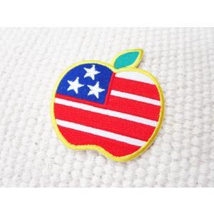 刺繍ワッペン/アメリカンアップル.Cute/USA/国旗/レトロ/メール便送料無料/アイロン/アップリケ/CaJu+NiC[カジュニック] cajunic