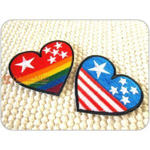 刺繍ワッペン/スターハート(M)全2種類/レインボー/アメリカ/USA/メール便送料無料/アイロン/アップリケ/CaJu+NiC[カジュニック]|cajunic