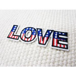 刺繍ワッペン/LOVE.USA/アメリカ国旗/ロゴ/星条旗/メール便送料無料/アイロン/アップリケ/CaJu+NiC[カジュニック] cajunic