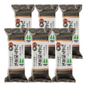 ひのき泥炭石 洗顔せっけん すっきりタイプ 150g 6個セット ペリカン石鹸 正規販売店 ポイント消化|cakefactory