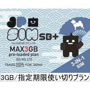 プリペイドSIMカード JPSIM SB+ 3GB/指定期限使い切りプラン(nano/micro/標準SIMマルチ対応) SIMピン付|calendar-world
