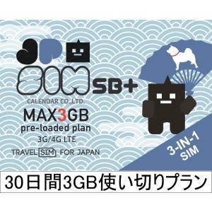プリペイドSIMカード JPSIM SB+ 30日間3GB使い切りプラン(nano/micro/標準SIMマルチ対応) SIMピン付|calendar-world