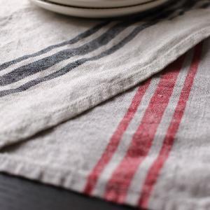 CALIENTE リトアニア リネン 麻 100% カンパーニュ テーブル ランナー 赤・黒|caliente