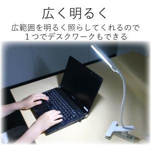 エレコム LEDクリップライト USB+AC対応 タッチセンサー 広域配光 ホワイト LEC-C01...