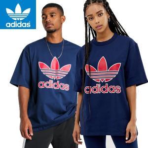 adidas アディダス正規品オリジナルス半袖TEEシャツ トレフォイル Trefoil Tee紺ネイビー|californiastyle