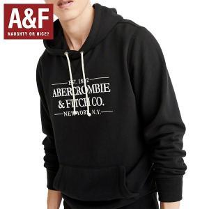 Abercrombie & Fitchアバクロンビーアンドフィッチ正規品メンズプルオーバーパーカー黒ロゴプリント|californiastyle