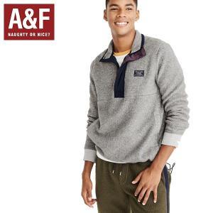 Abercrombie&Fitchアバクロンビーアンドフィッチ正規品メンズハーフジップ グレーフリース|californiastyle