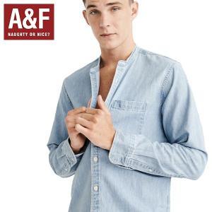 Abercrombie & Fitch正規品メンズ長袖ダンガリーシャツ ノーカラー襟なし|californiastyle