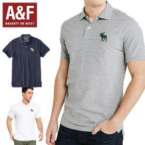 Abercrombie & fitchアバクロンビーアンドフィッチ正規品半袖ポロシャツ 紺白グレー|californiastyle