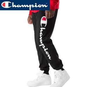 Champion チャンピオン正規品 スウェットパンツ ボトム裏起毛デカロゴプリント黒|californiastyle