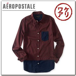 訳あり エアロポステールAEROPOSTALEシャツ Long Sleeve Houndstooth Woven Shirt|californiastyle