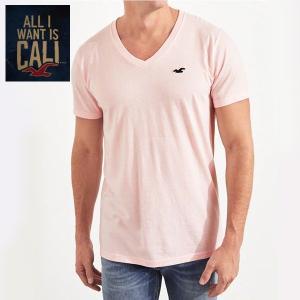HOLLISTERホリスター正規品メンズ半袖TEEシャツ ピンク Vネック|californiastyle