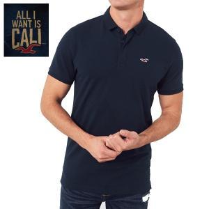 HOLLISTERホリスター正規品メンズ半袖ネイビーストレッチ紺Stretch Shrunken Collar Slim Fit Polo|californiastyle