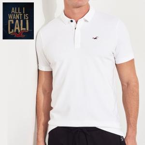 HOLLISTERホリスター正規品メンズ半袖鹿の子ポロシャツ無地白ホワイト Stretch Shrunken Collar Slim Fit Polo|californiastyle