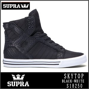 SUPRA SKYTOPスープラ スカイトップ S18250 BLACK - WHITE Black snakeskin-embossed suede|californiastyle