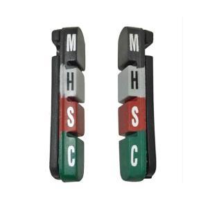 SCS 605A キャリパー ブレーキシュー 取り換え用 (ロード/クロスバイク) に 低温から高温まで高い制動力発揮の材質の異なるラバー使用 calm-runon