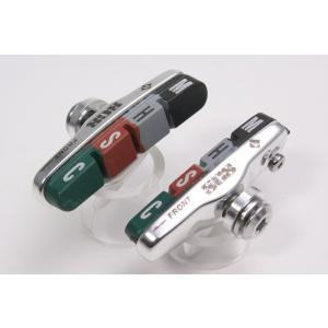 SCS 605A キャリパー ブレーキシュー セット(ロード/クロスバイク) に 低温から高温まで高い制動力発揮の材質の異なるラバー使用 calm-runon
