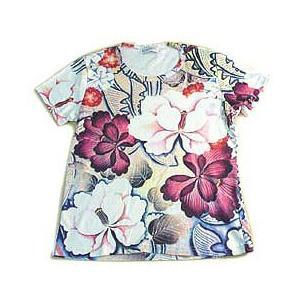 (和柄半袖・プリントTシャツ)花鳥風月・紫大輪(T-W015-107)|calmlife2nd