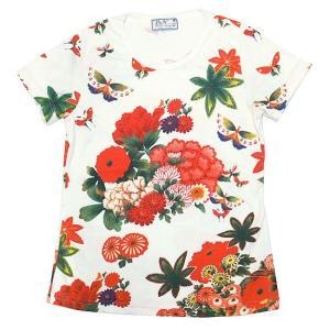(和柄半袖・プリントTシャツ)花鳥風月・蝶とお花畑 (T-W015-104)|calmlife2nd