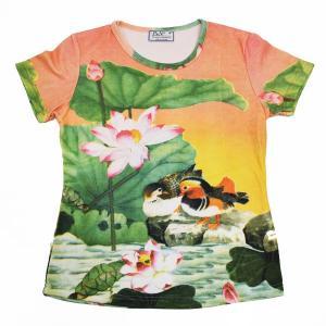 (和柄半袖・プリントTシャツ)花鳥風月・楽園・国内最大級・総柄レディースプリントTシャツ(T-W015-118)|calmlife2nd