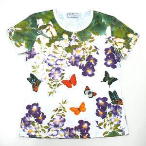 (和柄半袖・プリントTシャツ)バタフライ・ガーデン・総柄レディースプリントTシャツ・シリーズ (T-W020-SP14)|calmlife2nd
