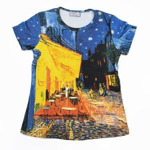 (アート半袖・プリントTシャツ)フィンセント・ファン・ゴッホ 夕方のカフェテラス・総柄レディースプリントTシャツ(T-W020-GO03)|calmlife2nd