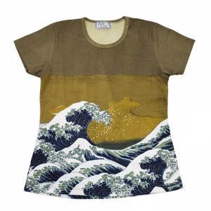 (和柄半袖・プリントTシャツ)花鳥風月・宵の波・総柄レディースプリントTシャツ・シリーズ (T-W015-142)|calmlife2nd