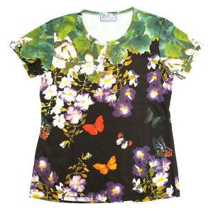(和柄半袖・プリントTシャツ)花鳥風月・深夜のバタフライガーデン・総柄レディースプリントTシャツ(T-W015-SP14-BK)|calmlife2nd