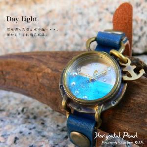 (オリジナル・アンティーク風腕時計)水平線に浮かぶ真珠:腕時計(Day Light)・日本製・Jouet.コラボアイテム(レディース&メンズ)(S-M-HP1) calmlife2nd