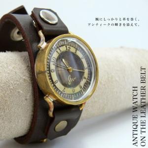 【職人手作り★アンティーク風腕時計】大バックル&ベルトで魅せる腕時計レディース&メンズ][S-M-JFB-12] calmlife2nd