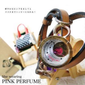 【職人手作り★アンティーク風腕時計】サークルアートにピンクの惑星。手作り腕時計★dedegumo[デデグモ]★[S-M-KOMW-B24] calmlife2nd