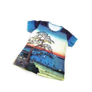 (和柄半袖・プリントTシャツ)安藤(歌川)広重『東海道五拾三次』国内最大級・総柄レディースプリントTシャツ・シリーズ (T-W015-AN02)|calmlife2nd