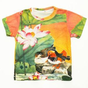 (キッズ・和柄半袖・プリントTシャツ)花鳥風月・楽園・総柄レディースプリントTシャツ(T-W015-K-118)|calmlife2nd