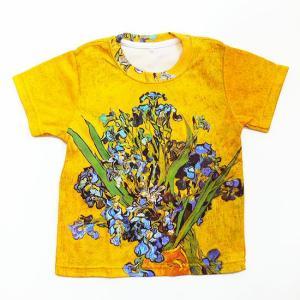 (キッズ・アート半袖・プリントTシャツ)フィンセント・ファン・ゴッホ 2つめのアイリス・総柄レディースプリントTシャツ(T-W020-K-GO14)|calmlife2nd