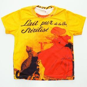 (キッズ・アート半袖・プリントTシャツ)テオフィル・アレクサンドル・スタンラン・総柄レディースプリントTシャツ(T-W020-K-RT01)|calmlife2nd