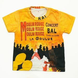 (キッズ・アート半袖・プリントTシャツ)トゥールーズ・ロートレック ムーラン・ルージュのラ・グーリュ・総柄レディースプリントTシャツ(T-W020-K-RT02)|calmlife2nd