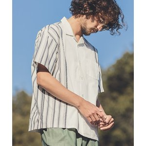 【ANGENEHM(アンゲネーム)】Retro Stripe Swtich Short Sleeve Shirts(MADE IN JAPAN) シャツ(ANG9-006)|cambio