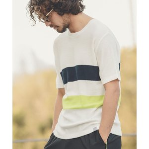 【ANGENEHM(アンゲネーム)】Line Border Summer Knit Tee(MADE IN JAPAN) Tシャツ(ANG19-040)|cambio