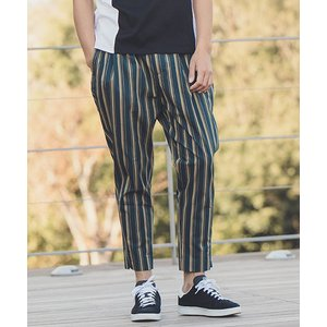 【ANGENEHM(アンゲネーム)】British Stripe Tuck Tapered Ankle Pants(MADE IN JAPAN) パンツ(ANG9-019)|cambio