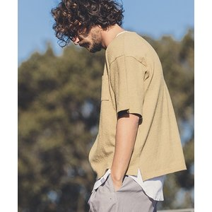 【ANGENEHM(アンゲネーム)】Wide Loose Slub Pile Tee(MADE IN JAPAN) Tシャツ(ANG9-034)|cambio