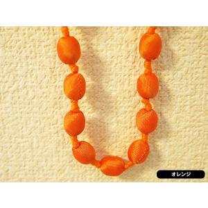 ハンドメイドのシルクアクセサリー ビーズネックレス ショート単色 102cm オレンジ|cambodia