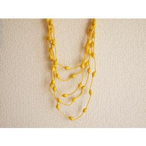 ハンドメイドのシルクアクセサリー ビーズネックレス5連 単色 黄色|cambodia