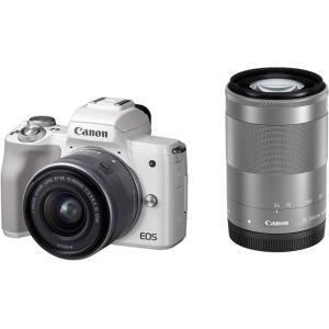 キヤノン Canon EOS Kiss M(ホワイト)・ダブルズームキット 新品SDカード付き <プ...
