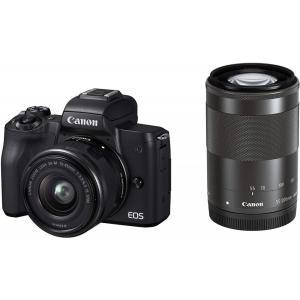 キヤノン Canon EOS Kiss M ブラック  ダブルズームキット 新品SDカード付き <プ...